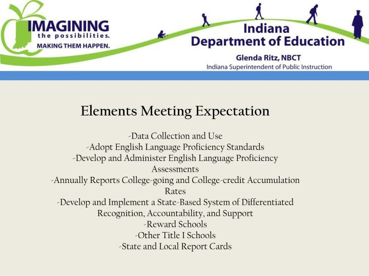 Elements Meeting Expectation