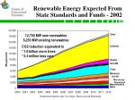 renewable energy expected from state standards and funds 2002