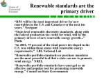 renewable standards are the primary driver
