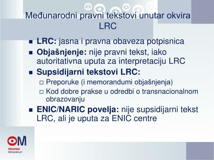 Međunarodni pravni tekstovi unutar okvira