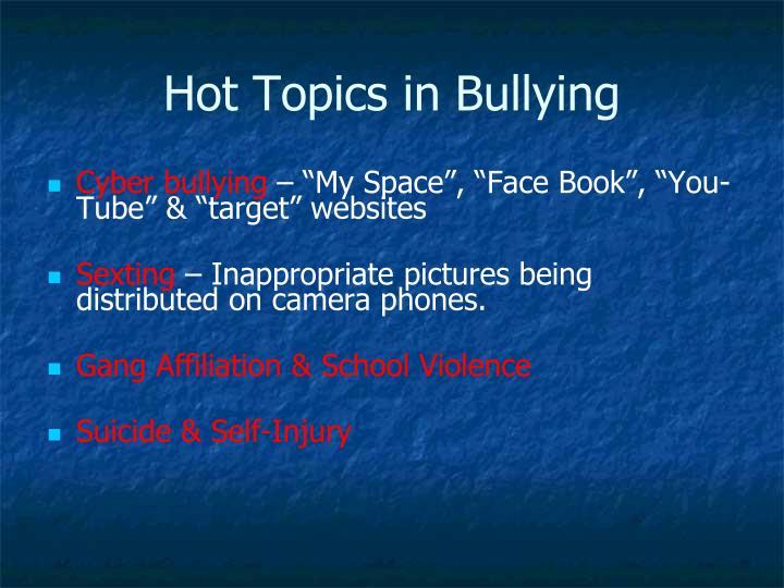 Hot Topics in Bullying
