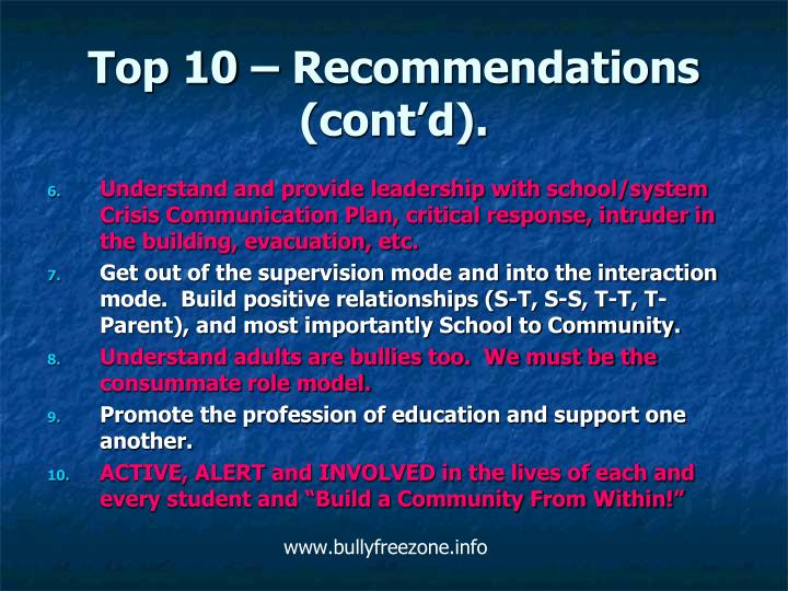 Top 10 – Recommendations