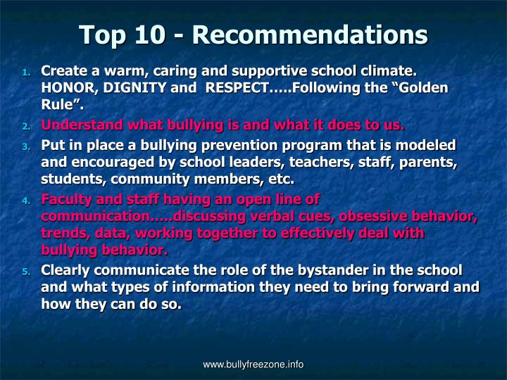 Top 10 - Recommendations