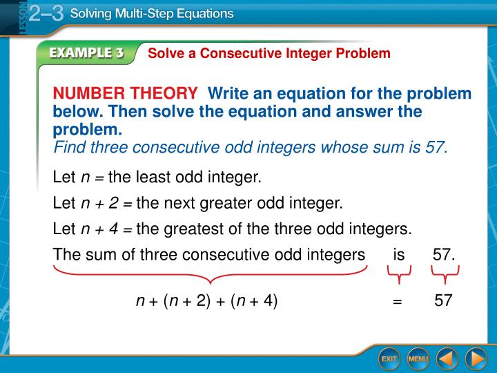 Solve a Consecutive Integer Problem