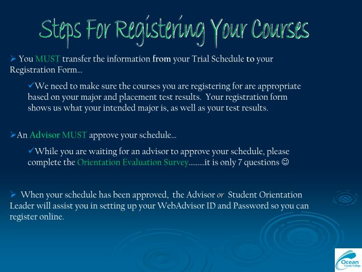 Steps For Registering Your Courses