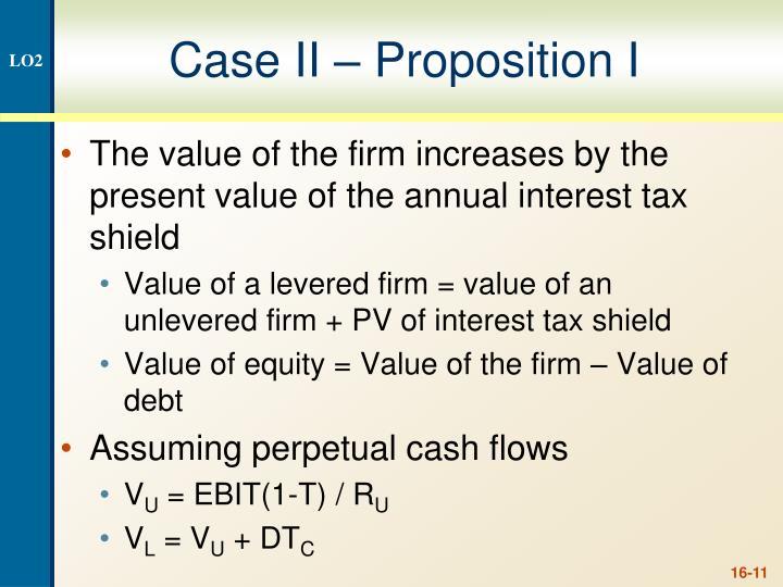 Case II – Proposition I