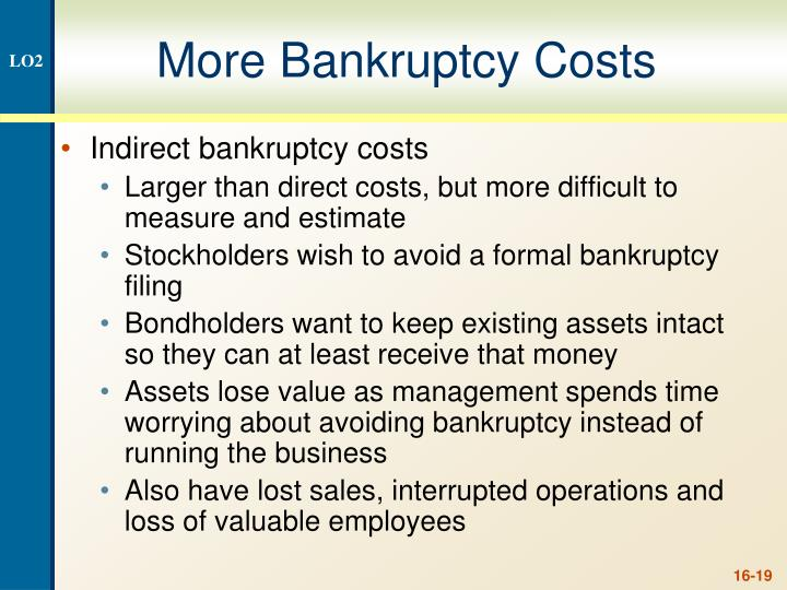 More Bankruptcy Costs