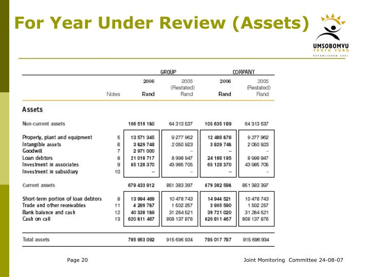 For Year Under Review (Assets)