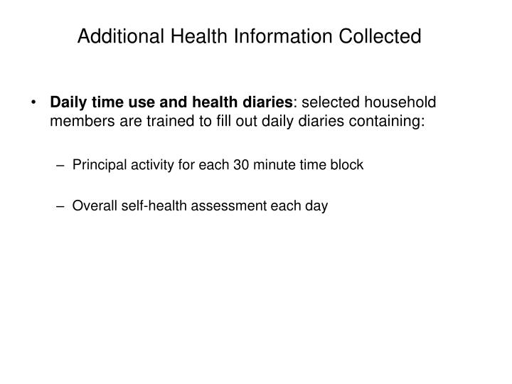 Additional Health Information Collected