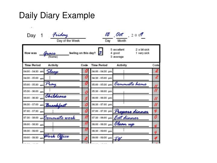 Daily Diary Example