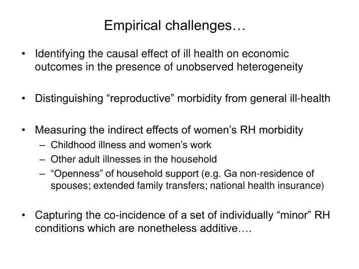Empirical challenges