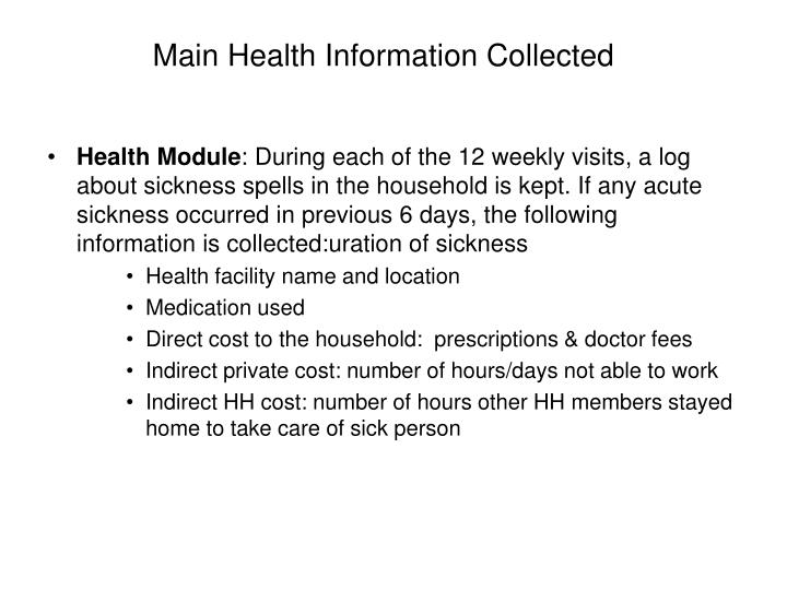 Main Health Information Collected