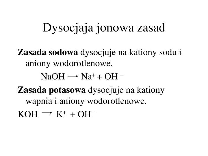 Dysocjaja jonowa zasad