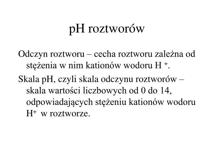 pH roztworów
