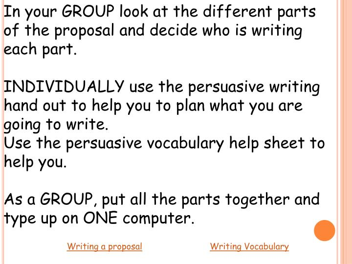 In your GROUP look at the different parts of the proposal and decide who is writing each part.