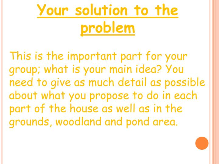 Your solution to the problem