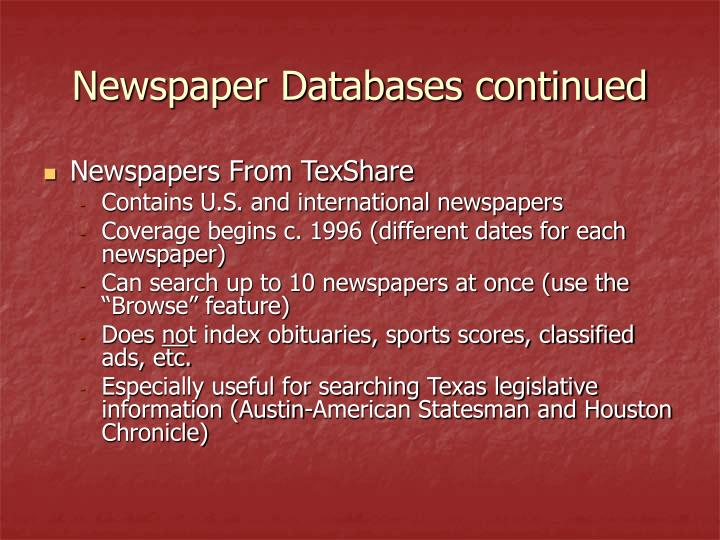 Newspaper Databases continued