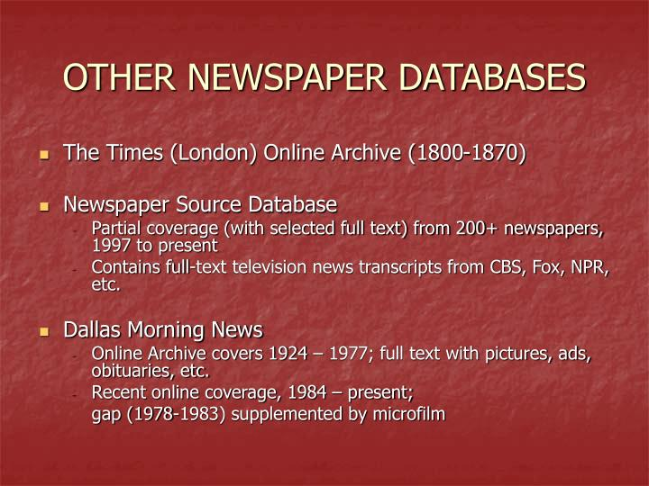 OTHER NEWSPAPER DATABASES