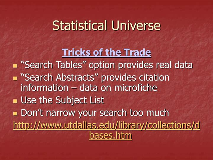 Statistical Universe
