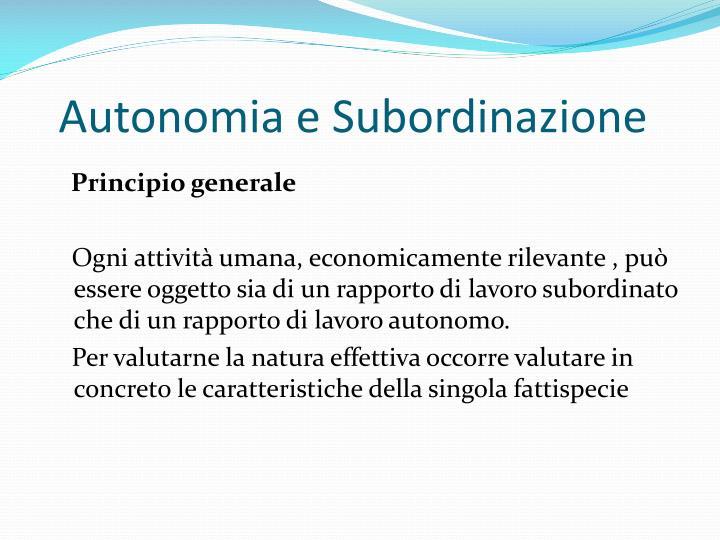 Autonomia e Subordinazione