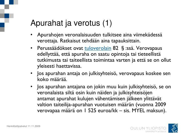 Apurahat ja verotus (1)