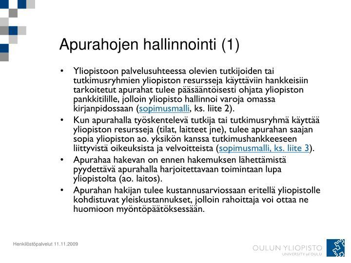 Apurahojen hallinnointi (1)