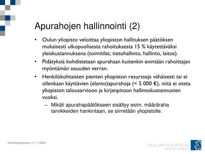 Apurahojen hallinnointi (2)
