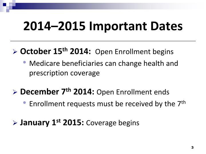 2014–2015 Important Dates