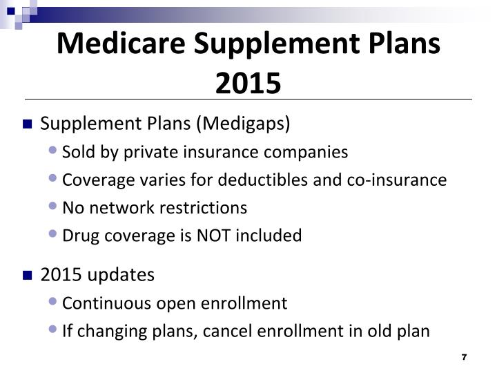 Medicare Supplement Plans 2015