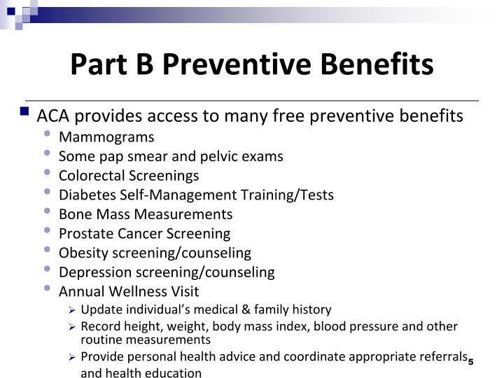 Part B Preventive Benefits