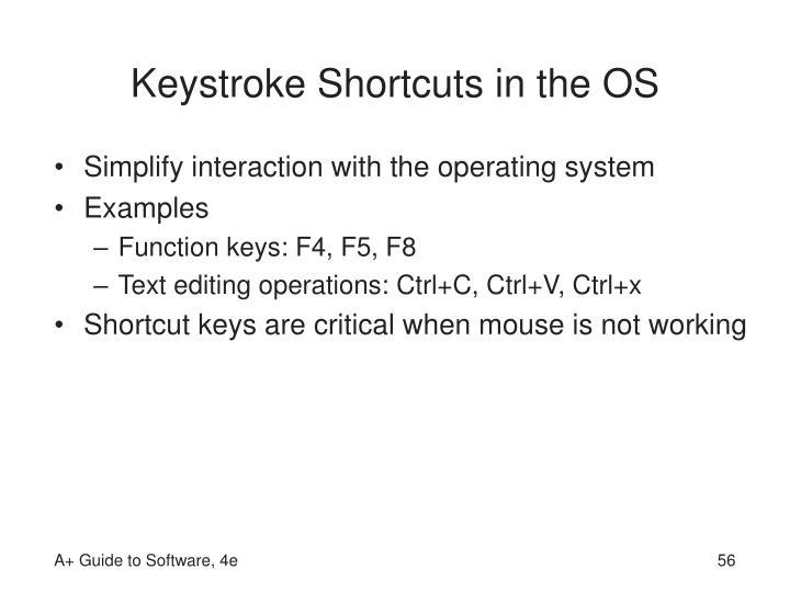 Keystroke Shortcuts in the OS