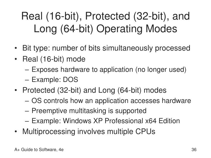 Real (16-bit), Protected (32-bit), and Long (64-bit) Operating Modes