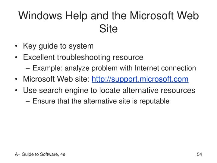 Windows Help and the Microsoft Web Site