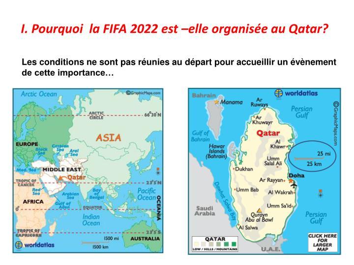 I. Pourquoi  la FIFA 2022 est –elle organisée au Qatar?