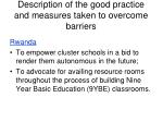 description of the good practice and measures taken to overcome barriers