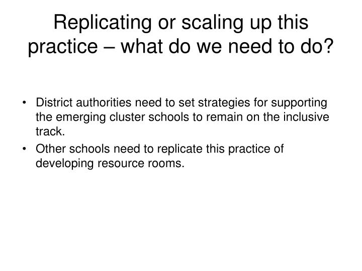 Replicating or scaling up this practice – what do we need to do?