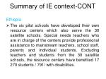 summary of ie context cont