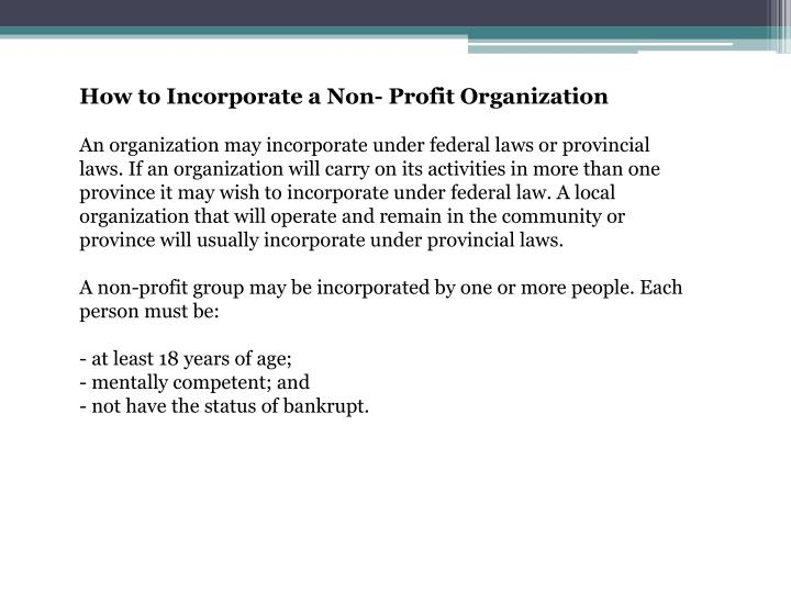 How to Incorporate a Non- Profit Organization