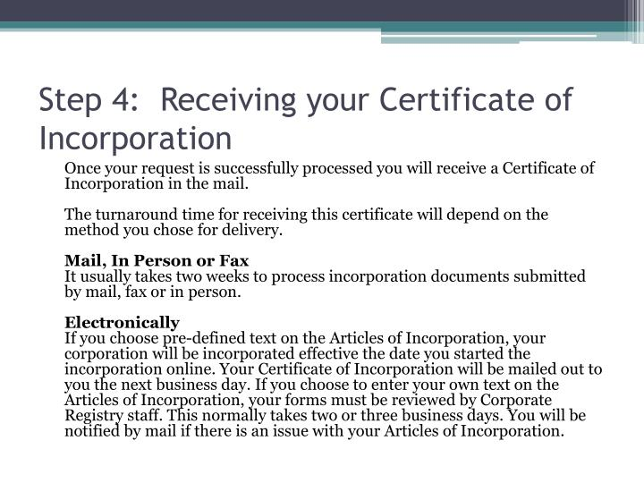 Step 4:  Receiving your Certificate of Incorporation