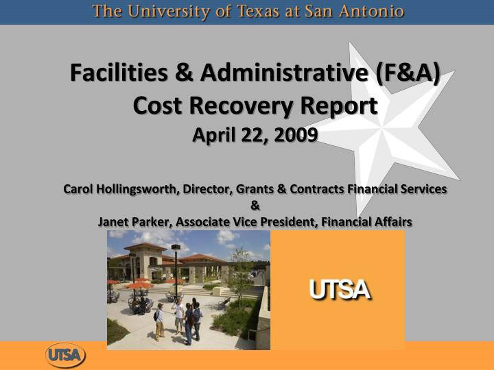 Facilities & Administrative (F&A) Cost Recovery Report