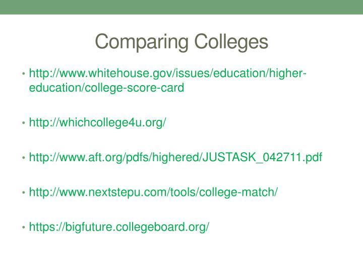 Comparing Colleges