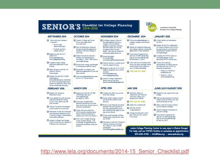 http://www.lela.org/documents/2014-15_Senior_Checklist.pdf