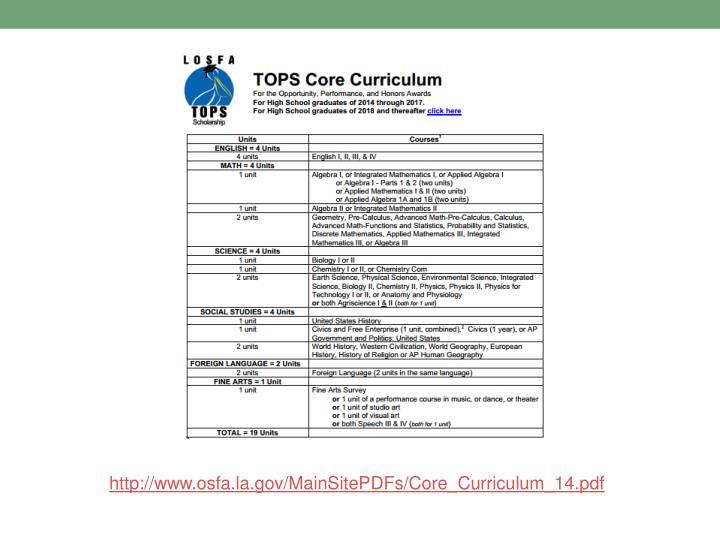 http://www.osfa.la.gov/MainSitePDFs/Core_Curriculum_14.pdf