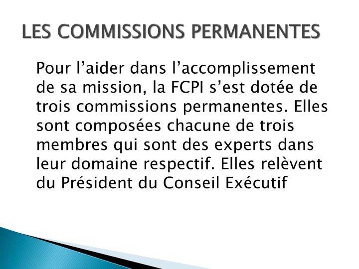 LES COMMISSIONS PERMANENTES