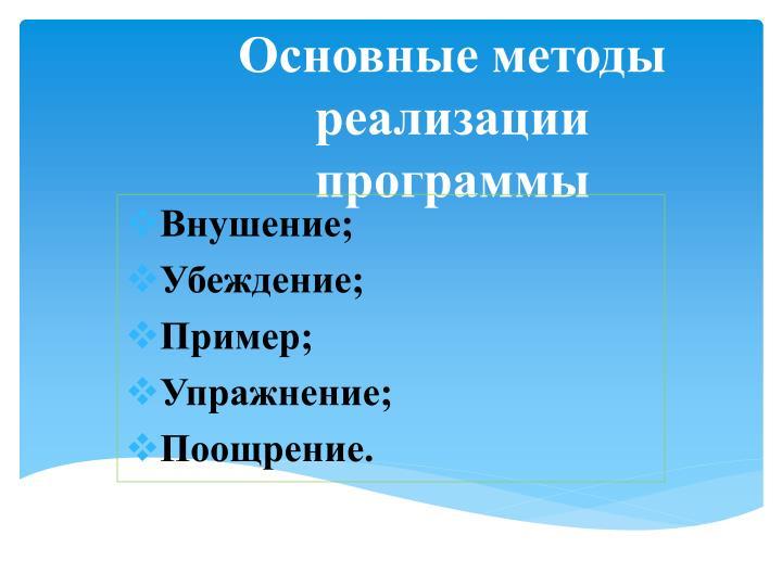 Основные методы реализации программы
