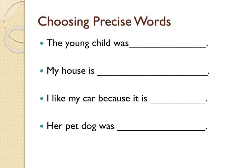 Choosing Precise Words
