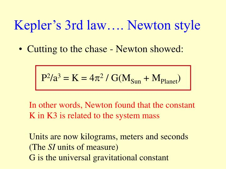 Kepler's 3rd law…. Newton style
