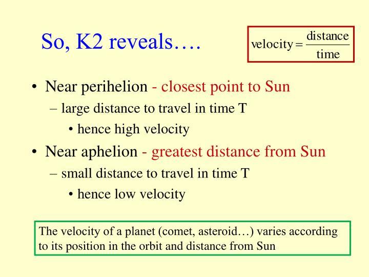 So, K2 reveals….