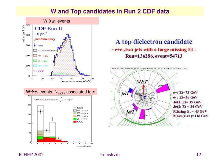 W and Top candidates in Run 2 CDF data