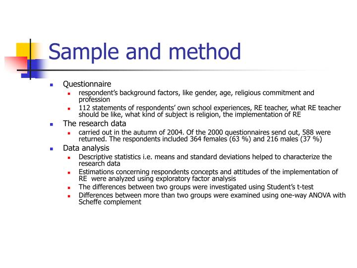 Sample and method